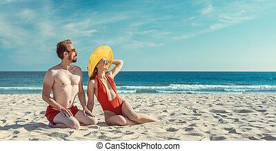 milieu, couple, leur, vieilli, vacances plage, été