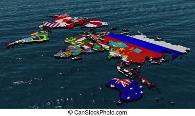 milieu, e, zoom, mondiale, drapeau, 3d