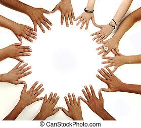 milieu, espace copy, confection, fond, conceptuel, blanc, multiracial, enfants, symbole, cercle, mains