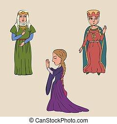 milieu, femmes, âges, tôt, dessin animé, habillement