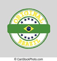 milieu, original, brésil, logo, nation, vecteur, texte, attachement, timbre, flag.