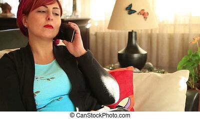 milieu, séduisant, cellphone, vieilli, femme parler