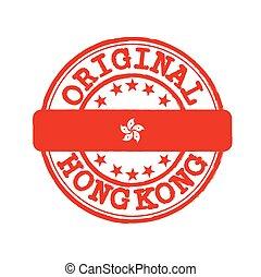 milieu, texte, kong, flag., nation, timbre, hong, vecteur, original, logo, attachement