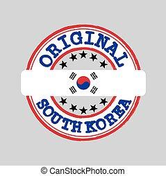 milieu, texte, original, flag., nation, timbre, vecteur, corée, logo, attachement, sud