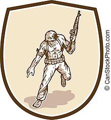 militaire, armalite, soldat, américain, fusil, dessin animé