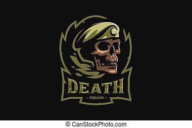 militaire, béret, crâne