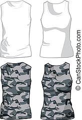 militaire, blanc, vecteur, chemises, template.
