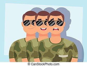 militaire, caractères, groupe, vêtements, hommes