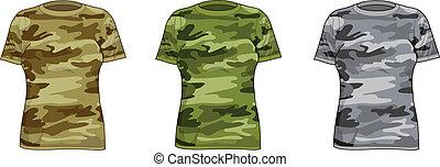 militaire, chemises, femmes