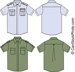 militaire, chemises, mens
