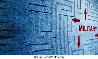 militaire, concept, labyrinthe