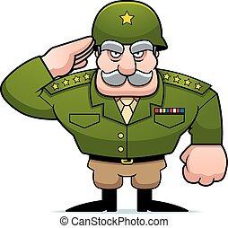 militaire, dessin animé, salut, général