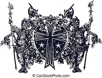 militaire, emblème, classique