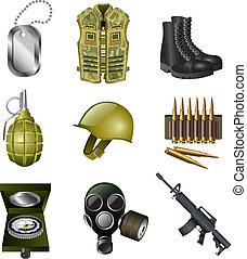 militaire, ensemble, armée, icônes