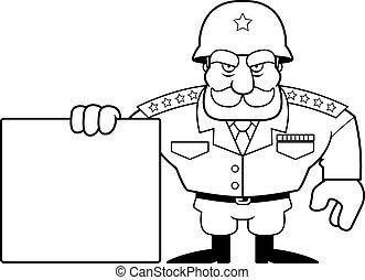 militaire, général, dessin animé, signe