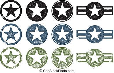 militaire, grunge, étoiles