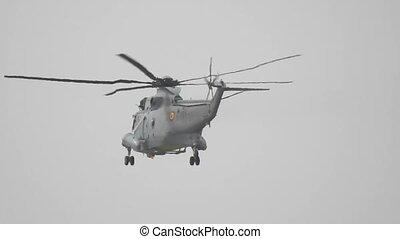 militaire, hélicoptère volant