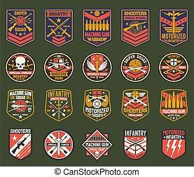 militaire, raies, ensemble, chevrons, armée, vecteur, icônes