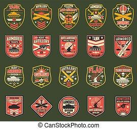 militaire, raies, usa, ou, chevrons, icônes, vecteur