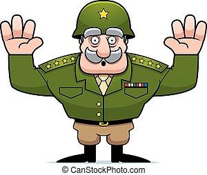 militaire, reddition, dessin animé, général