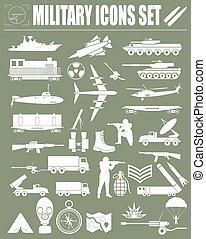 militaire, set., icône, constructeur, kit