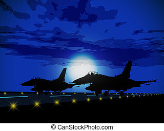 militaire, silhouettes, avions