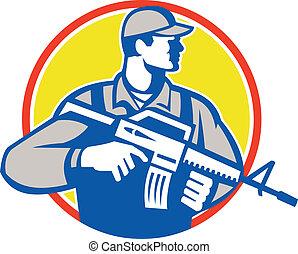 militaire, soldat, assaut, retro, fusil, militaire, côté