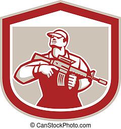 militaire, soldat, assaut, retro, tenue, fusil, militaire, crête