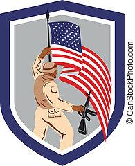 militaire, soldat, drapeau, tenue, fusil, militaire, bouclier