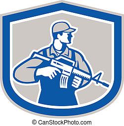 militaire, soldat, retro, fusil, militaire, crête, côté