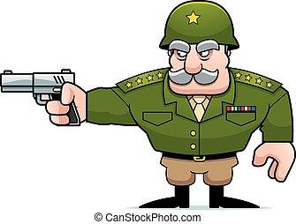 militaire, tir, dessin animé, général