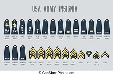 militaire, usa, ensemble, nous, chevrons, insigne, armée
