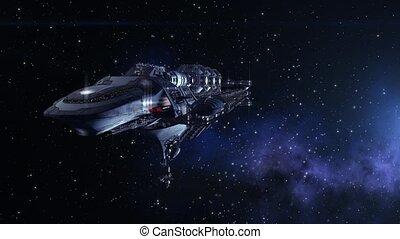 militaire, vaisseau spatial, futuriste