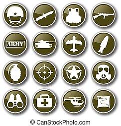 militaire, vecteur, ensemble, armée, icône