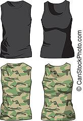 militaire, vecteur, noir, chemises, template.