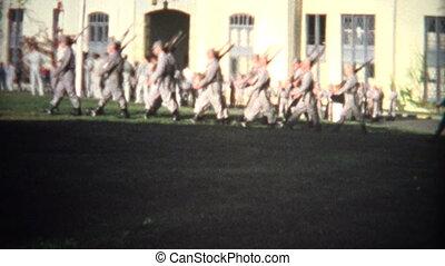 militaire, vintage), hommes, (8mm, marcher