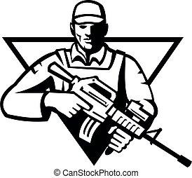militaire, vue frontale, fusil, triangle, militaire, assaut, retro, soldat