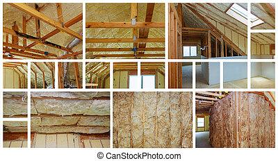 minéral, collage, photo, wood., isolement, préfabriqué, chaleur, maison, nouveau, laine