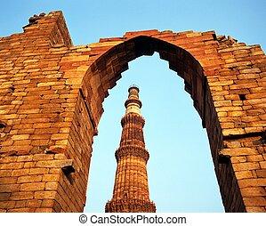 minar, delhi, qutub, india., mosquée