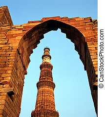 minar, qutub, minaret, vieux, delhi.