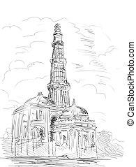 minara, qutub, delhi, inde, tour