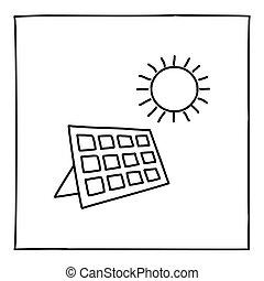 mince, dessiné, ou, icône, panneau, main, logo, ligne., griffonnage, noir, solaire