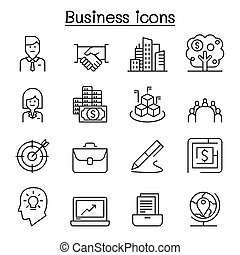 mince, style, ligne, business, ensemble, icône