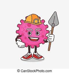 mineur, frais, virus, rose, caractère, dessin animé, mascotte