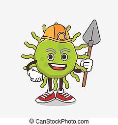 mineur, frais, virus, vert, caractère, dessin animé, mascotte