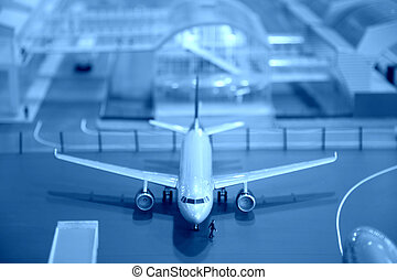 miniature, aéroport, avion