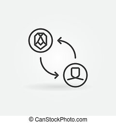 minimal, vecteur, figure, concept, échange, icône, linéaire