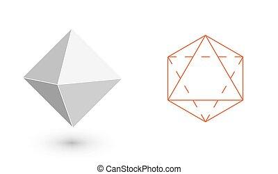 minimaliste, conception, illustration, -, solide, vecteur, amende, design., octahedron, bodies., illustration, art, mode, géométrique, pellicule, ligne., plat, hipster, figure.
