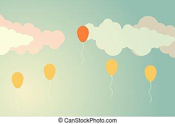 minimaliste, différent, concept, foule, style., balloon, voler, une, autre, retro, dehors, ballons, loin, stand