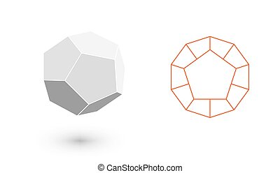 minimaliste, mode, art, bodies., solide, figure., illustration, plat, ligne., dodecahedron, vecteur, hipster, illustration, conception, géométrique, amende, pellicule, design.